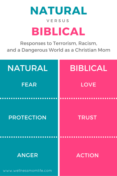 A Christian Mom's Response to Terrorism, Racism, and a Dangerous World - Natural vs. Biblical Responses