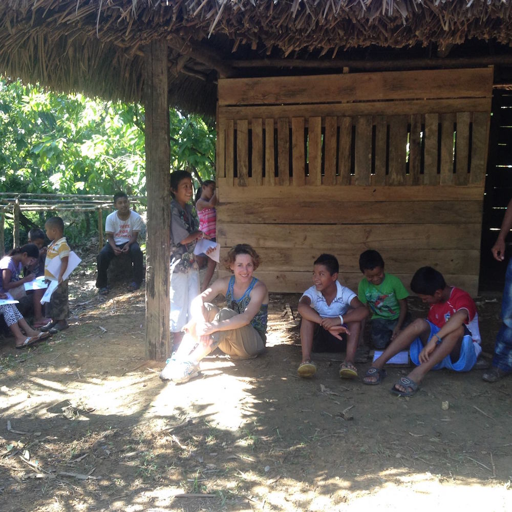 Esther Littlefield with a group of kids in Guatemala