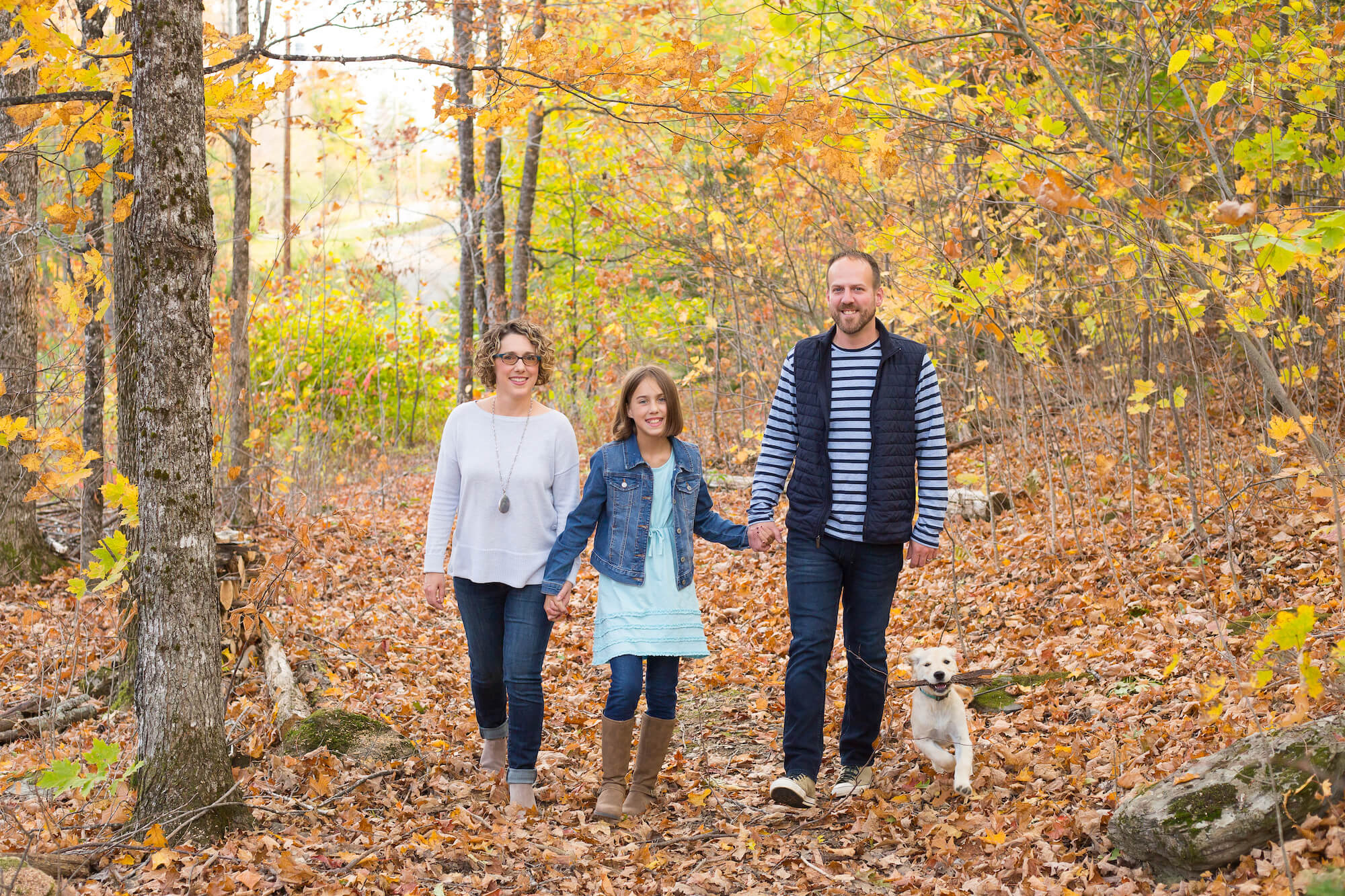 Littlefield family walking in the woods fall 2020